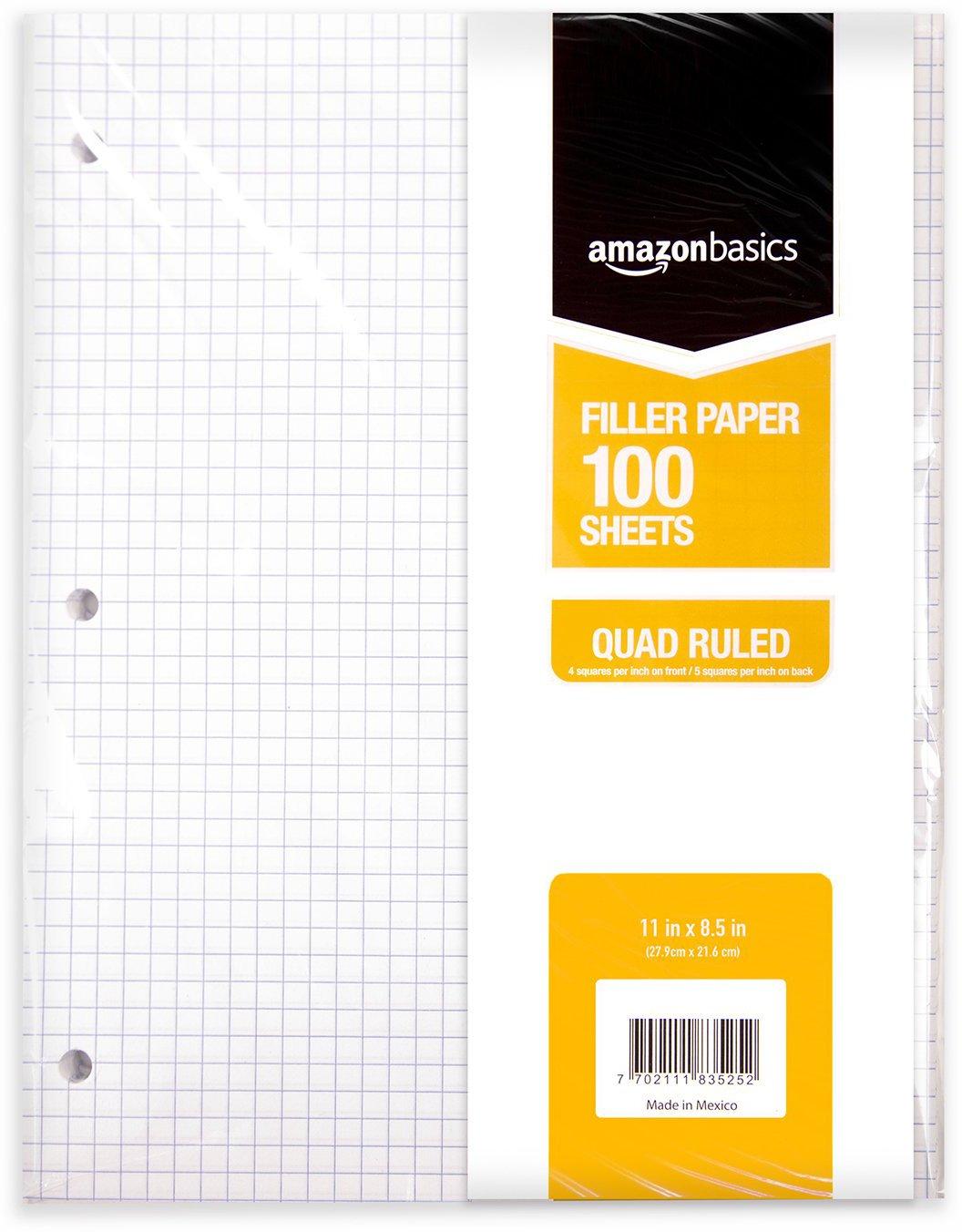 "AmazonBasics Graph Ruled Loose Leaf Filler Paper, 100-Sheet, 11"" x 8.5"", 6-Pack - 583524"