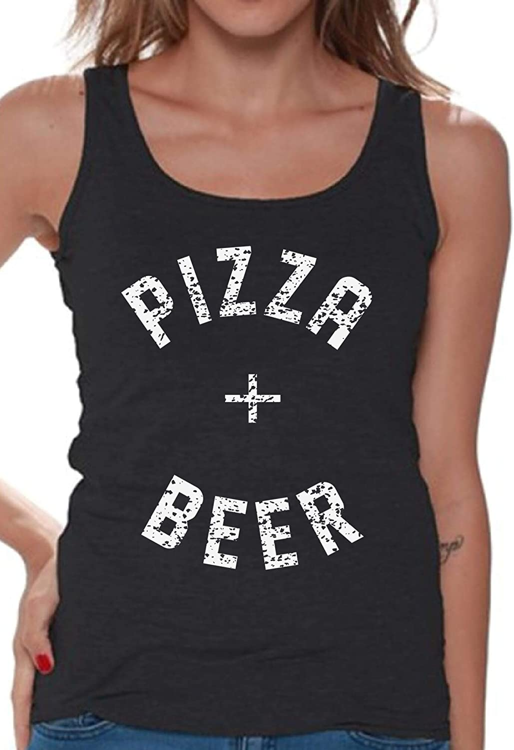 Awkwardstyles Women's Pizza + Beer Tank Top White Food Party Tank + Bookmark