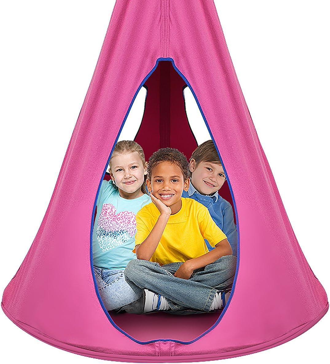 Amazon Com Sorbus Kids Nest Swing Chair Nook Hanging Seat Hammock For Indoor Outdoor Use Great For Children 40 Inch Nest Pink Furniture Decor