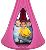 Sorbus Kids Nest Swing Chair Nook - Hanging Seat Hammock for Indoor Outdoor Use - Great for Children, All Accessories Included (40 Inch, Nest Pink)