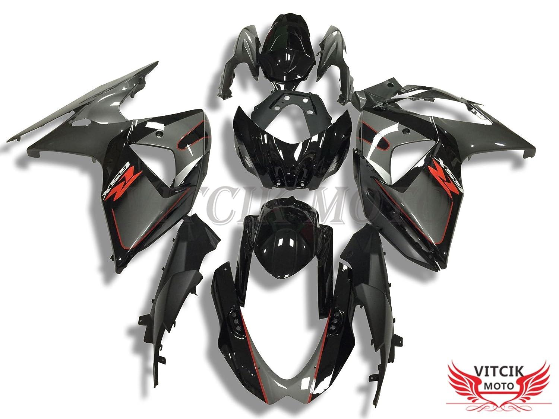 VITCIK (フェアリングキット 対応車種 スズキ Suzuki GSXR1000 GSX R1000 K9 2009 2010 2011 2012 2013 2014 2015 2016) プラスチックABS射出成型 完全なオートバイ車体 アフターマーケット車体フレーム 外装パーツセット(ブラック & グレー) A039   B075GWTXGW