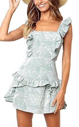 79295051e9e Angashion Women s Sleeveless Floral Print Ruffles Mini Dress Tie Knot  Backless Summer Dresses Blue S