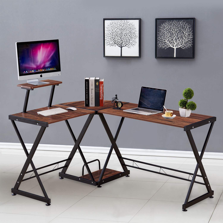 GreenForest L Shaped Office Computer Corner Desk with Storage Shelf PC Table Workstation for Home Office Black