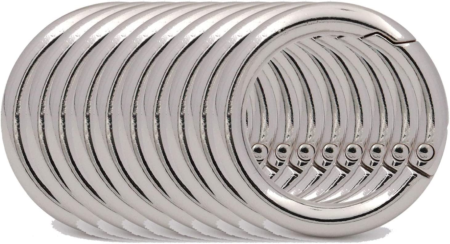 Keys BIKICOCO 1 Round Spring Gate O-Ring Clasp Push Snap Hook Screw Belt Hardware Loop for Handbags 10 Pcs Silver