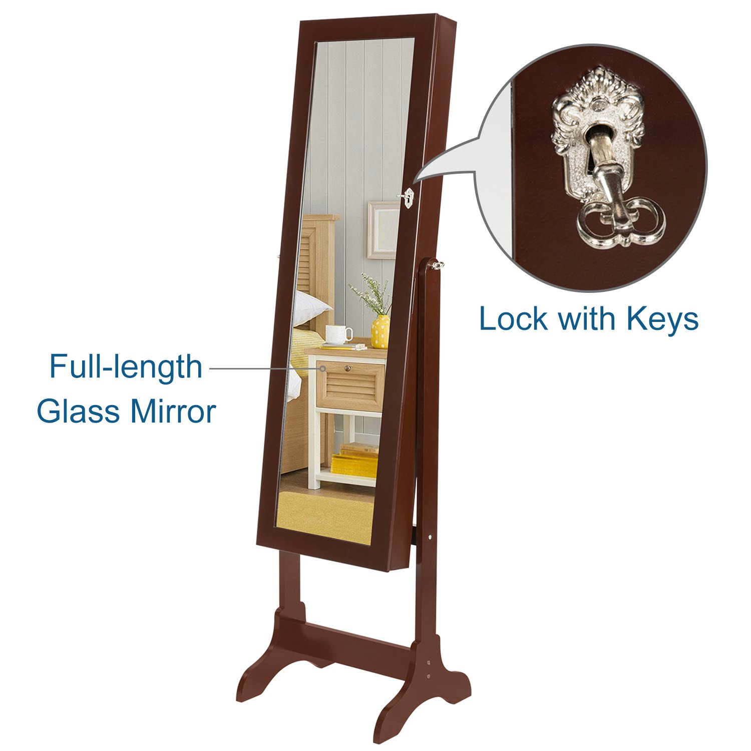HollyHOME Mirrored Jewelry Cabinet Lockable Standing Jewelry Armoire Holder Organizer with LED Lights, 4 Angle Adjustable, Brown by HollyHOME (Image #6)