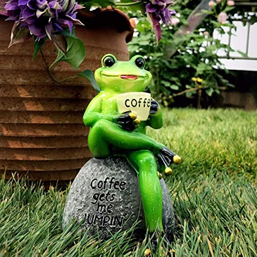 OwMell Green Frog Sitting Statue