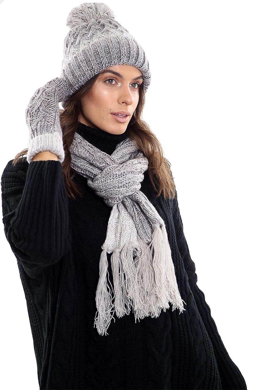 Islander Fashions Ladies Fleece Lined Warm Scarf Hat And Mittens Set Women Winter Wear Accessories One Size