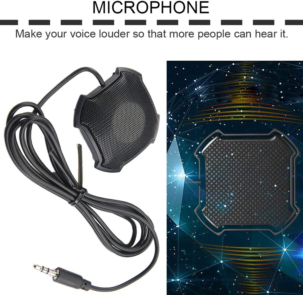 Black Omnidirectional Pickup Mic with 3.5mm Audio Jack Condenser Conference Microphone for Skype VOIP Call Voice Chat