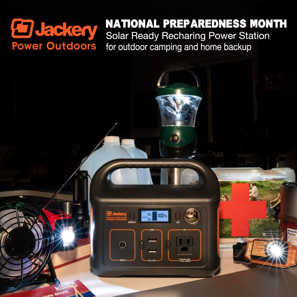 Jackery Portable Power Station Explorer 240, 240Wh Emergency Backup Lithium Battery, 110V 200W Pure Sinewave AC Outlet, Solar Generator for Outdoors Camping Travel Fishing Hunting