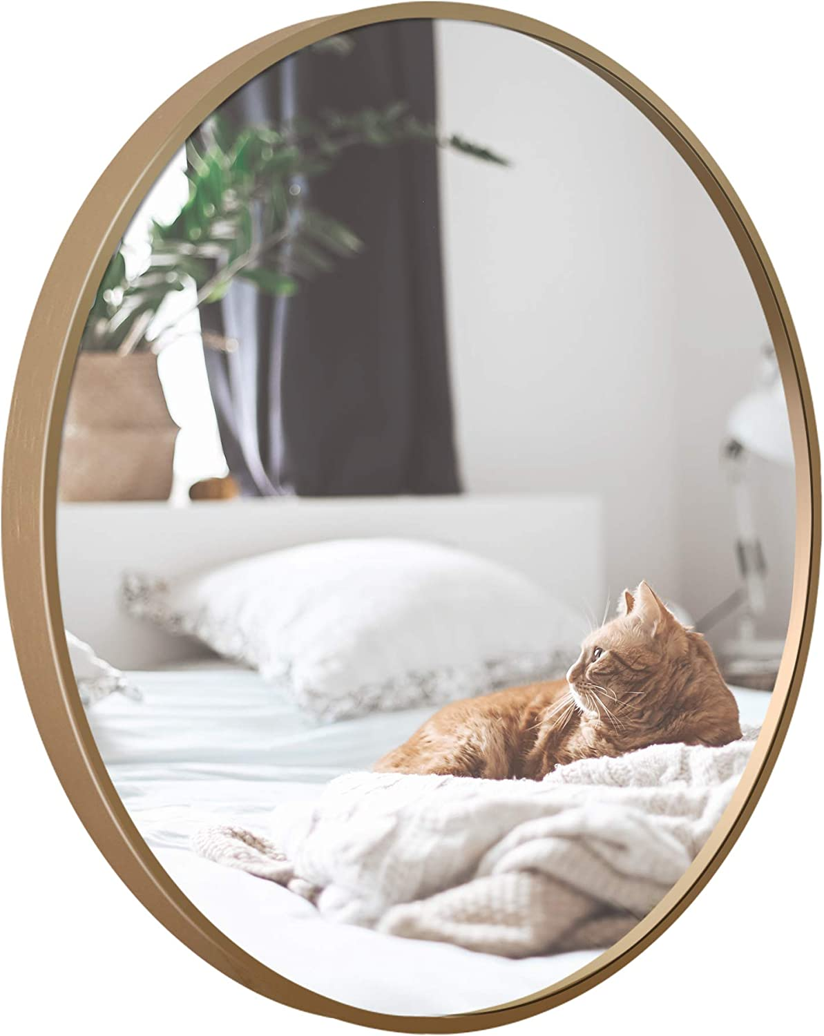 Round Mounting Mirror Wall Decor - Circle Vanity Mirror with Metal Gold Champagne Frame for Contemporary Rooms 32 inch