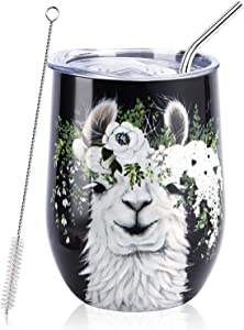 NymphFable 12oz Stainless Steel Wine Tumbler With Straw And Lid Alpaca Black Insulated Wine Glass Double Wall