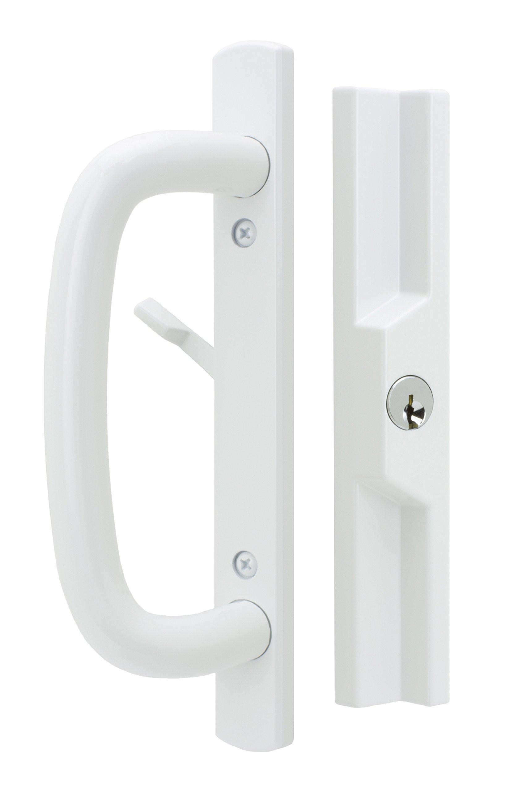 "Veranda Sliding Glass Door Handle Set with Mortise Lock, White, Keyed, 3-15/16"" Screw Holes, 1-1/2"" Door Thickness"