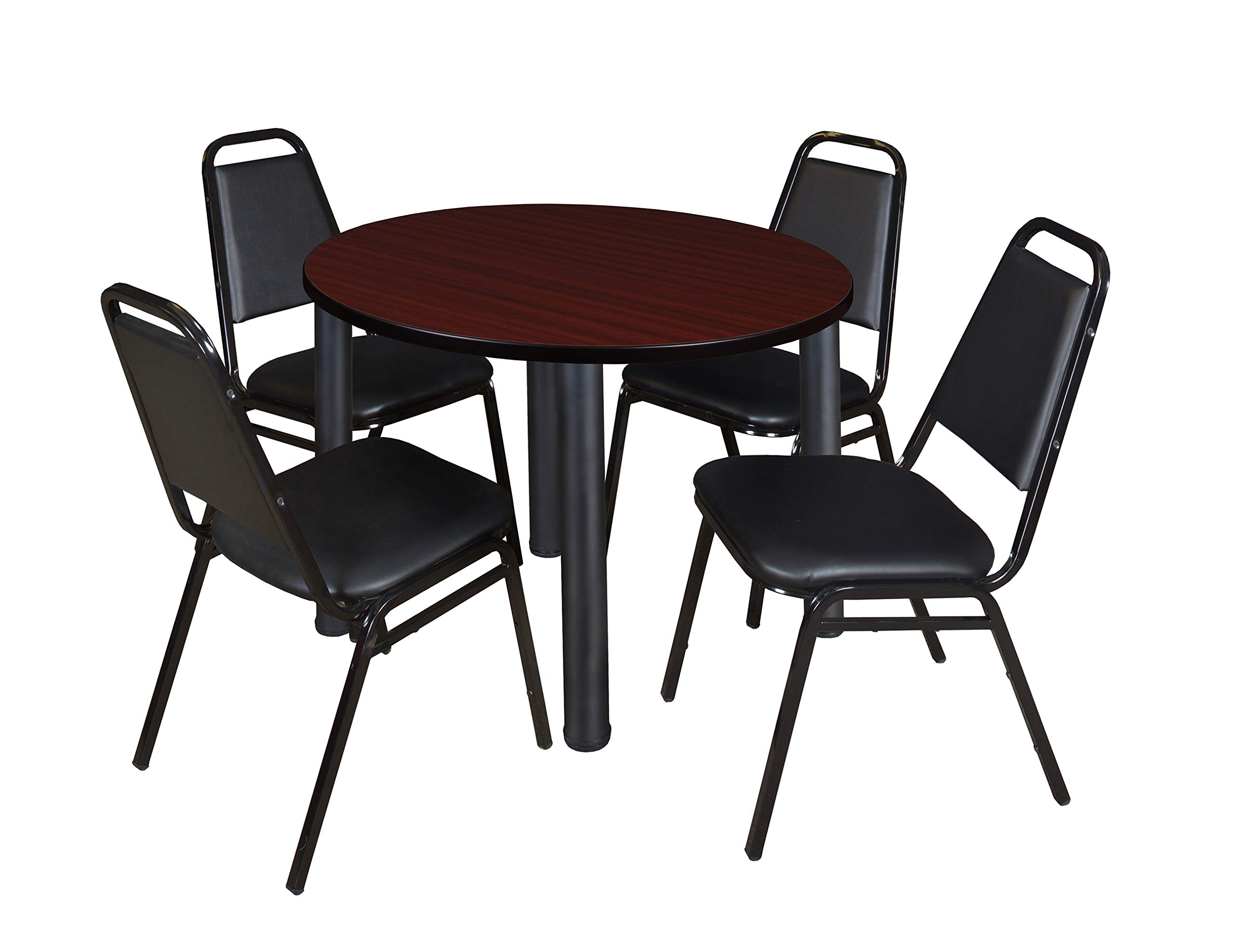 Kee 42'' Round Breakroom Table- Mahogany/ Black & 4 Restaurant Stack Chairs- Black by Regency