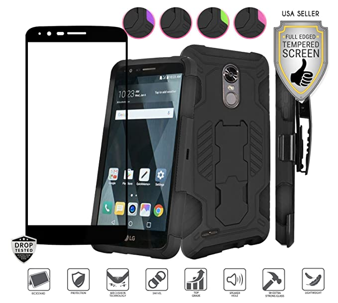 new arrivals 57458 ec62e LG Stylo 3 Case, LG Stylo 3 Plus Case, with Full Edged Tempered Glass  Screen Protector, Heavy Duty Rugged Holster Combo [Kickstand] [Belt Clip]  ...