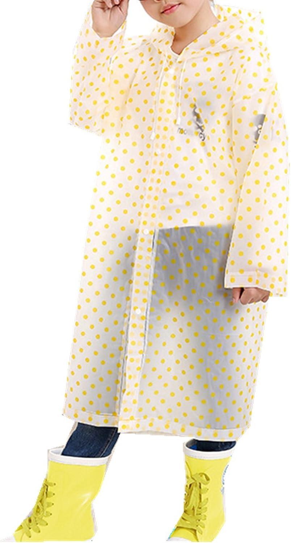Taiduosheng Age 6-12 Kids Dots Style Hooded Rain Poncho Raincoat Cover Long Rainwear