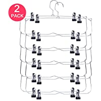 Hasitpro 6-Tier Skirt Pants Shorts Hangers with Adjustable Clips Space Saving No Slip Hangers Skirt Organizer 2 Pack