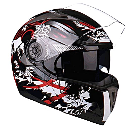 Amazon.com: JIEKAI JK-105 Full Face Motorcycle Flip Up Motorbike Street Bike Moped Dual Visor Helmet DOT Approved with Sun Shield and Washable Liner for Men ...