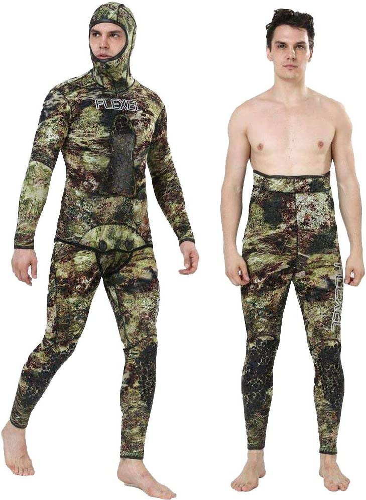 Flexel Camo Spearfishing Wetsuits Men 3mm 5mm 7mm Premium Neoprene Camouflage 2-Pieces Hoodie Freediving Fullsuit for Scuba Diving Snorkeling Swimming