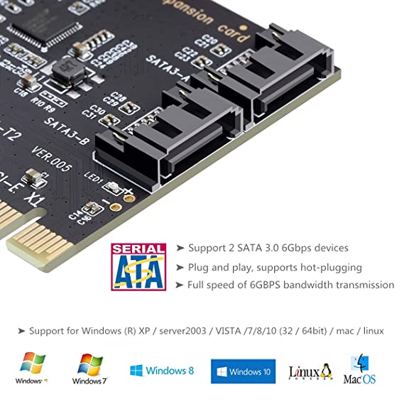 PCI Express SATA 3.0 Controller Card, 2-Port PCIe to SATA III 6GB / s Built-in Adapter Converter, PCI-E to SATA 3.0 Disk Array Card,with Small Bracket ...