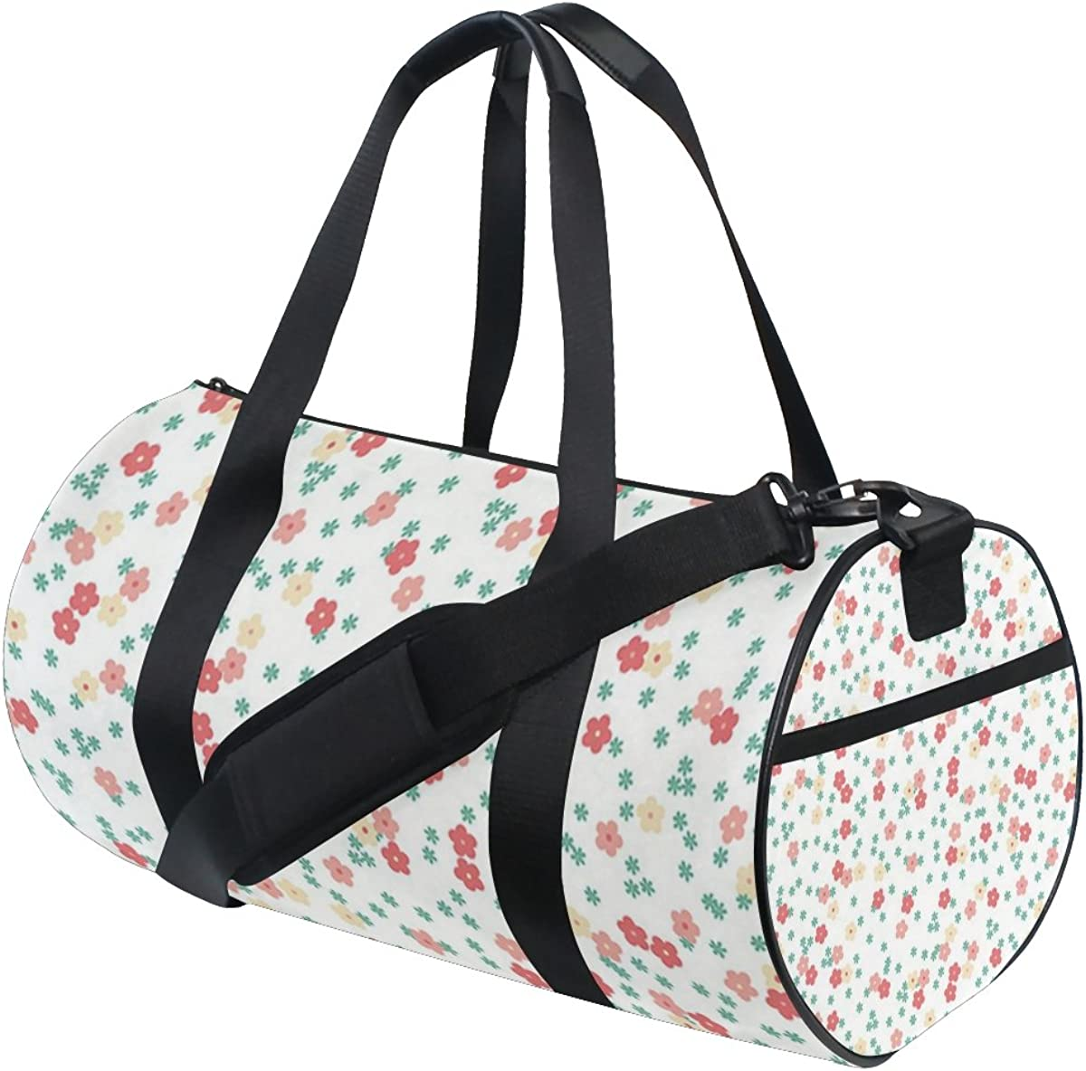 AHOMY Canvas Sports Gym Bag Flower Floral Cloth Travel Shoulder Bag