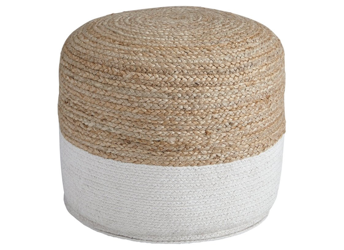 Ashley Furniture Signature Design - Sweed Valley Pouf - Comfortable Pouf & Ottoman - Casual - Natural/White
