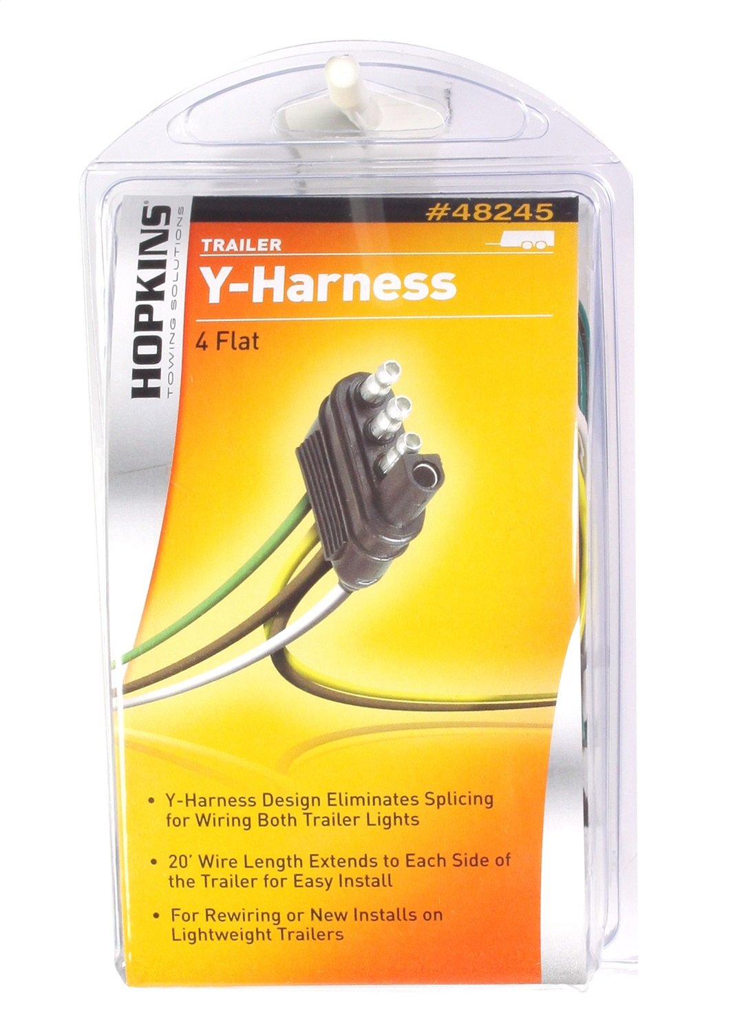 Amazon.com: Hopkins 48245 4 Wire Flat 20' Trailer End Y-Harness, 20 Feet:  Automotive