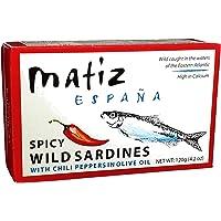 Matiz Spicy Wild Spanish Sardines in Olive Oil and Piri Piri Pepper, 4.2 oz (12 Pack)