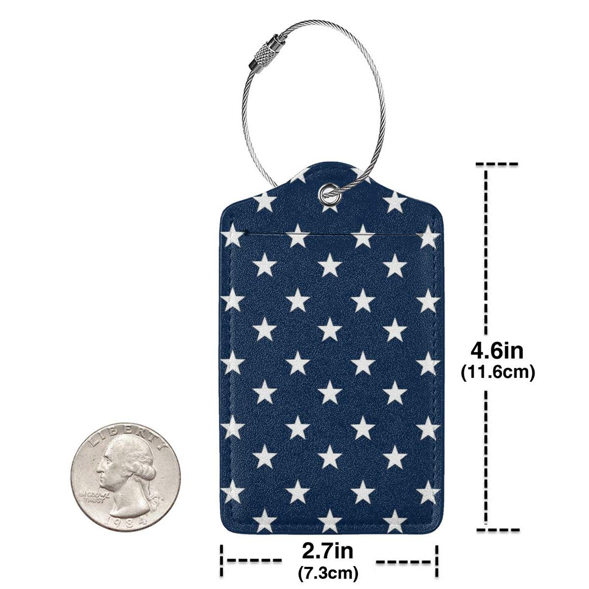 Leather Luggage Tag Dark Blue Stars Luggage Tags For Suitcase Travel Lover Gifts For Men Women 2 PCS