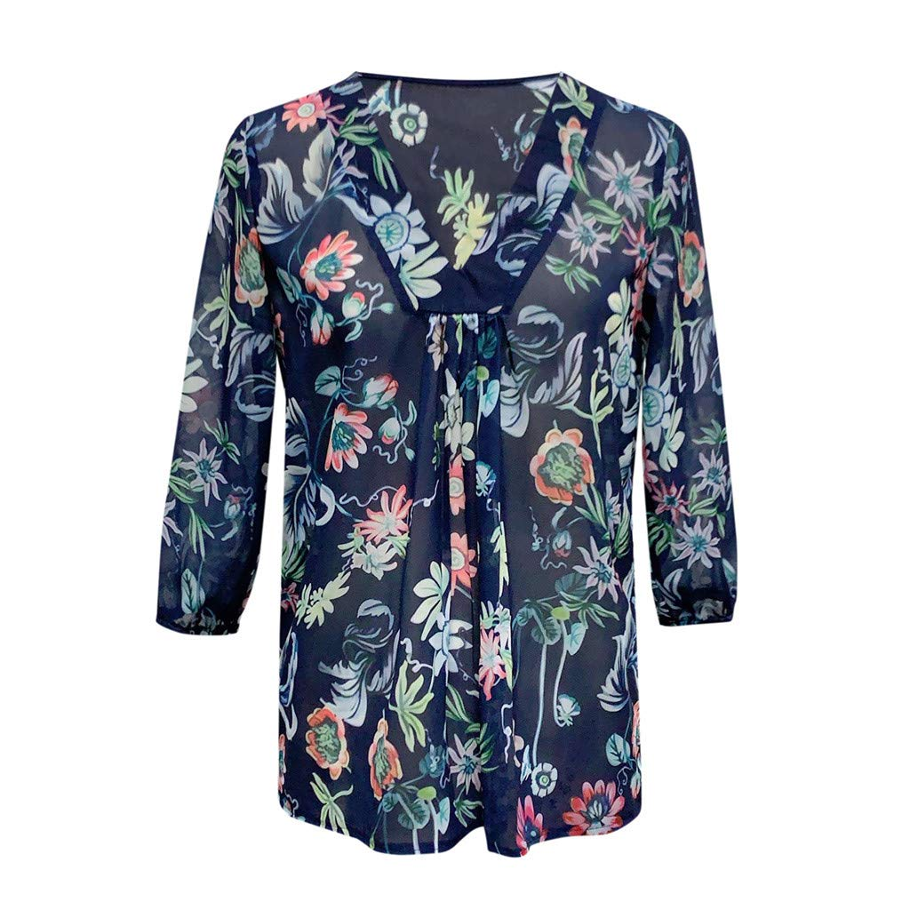 Caixukun Womens Tops Long Sleeve Plus Size Loose Three Quarter Sleeve V Neck Chiffon Floral Blouse Tee T Shirt Clothes Sale