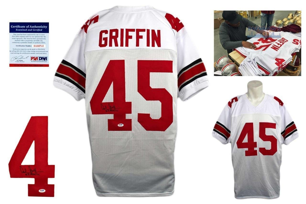 e4e4df2a0 Amazon.com: Signed Archie Griffin Jersey - White - PSA/DNA Certified -  Autographed College Jerseys: Sports Collectibles