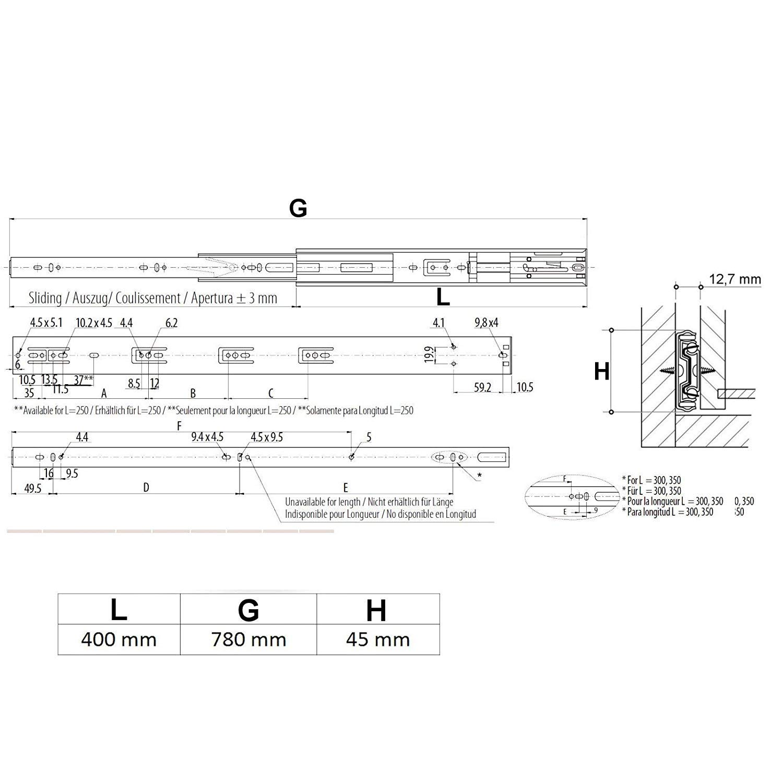 Gu/ía para caj/ón de extracci/ón total y SoftClosing Alto 45 mm//L 550 mm Carril de caj/ón 2 piezas 1 par