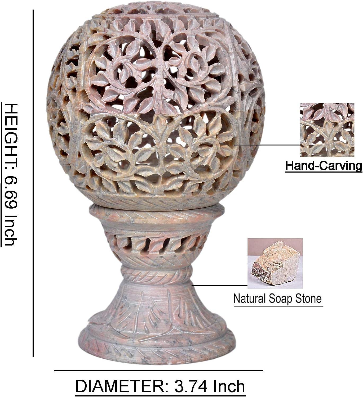 Hashcart Photophore Bougeoir d/écoratif fabriqu/é /à partir de en st/éatite avec Floral Carving avec Support pour Home Decor