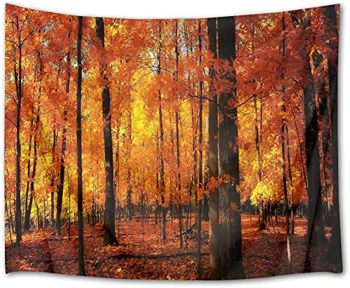 LB Fall Tapestry Maple Forest in Late Autumn 3D Watercolor Tapestry Wall Blanket Wall Art Tapestry Wall Hanging for Bedroom Living Room Dorm,80 x 60 Inches