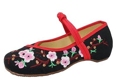 Icegrey Damen gemachten Stickerei Ballett-flache Schuhe Schwarz 33 ICEGREY fzv4LJepn
