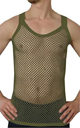 a7a55899a6624f Amazon.com  Crystal Mens 100% Cotton Mesh Fishnet Fitted String Vest   Clothing