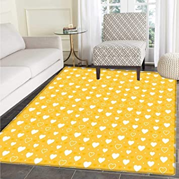 24119c0f0 Yellow Customize Floor mats for home Mat Full and Empty Heart Shapes with  Little Dots and