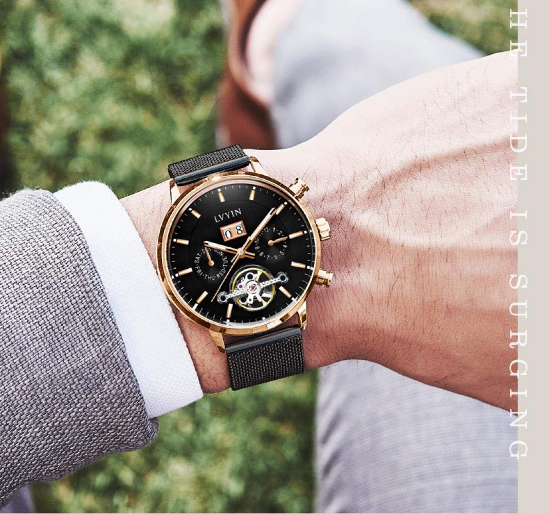 Herrklockor, ihålig automatisk mekanisk klocka multifunktion vattentät mode lysande klocka All Black and Blue