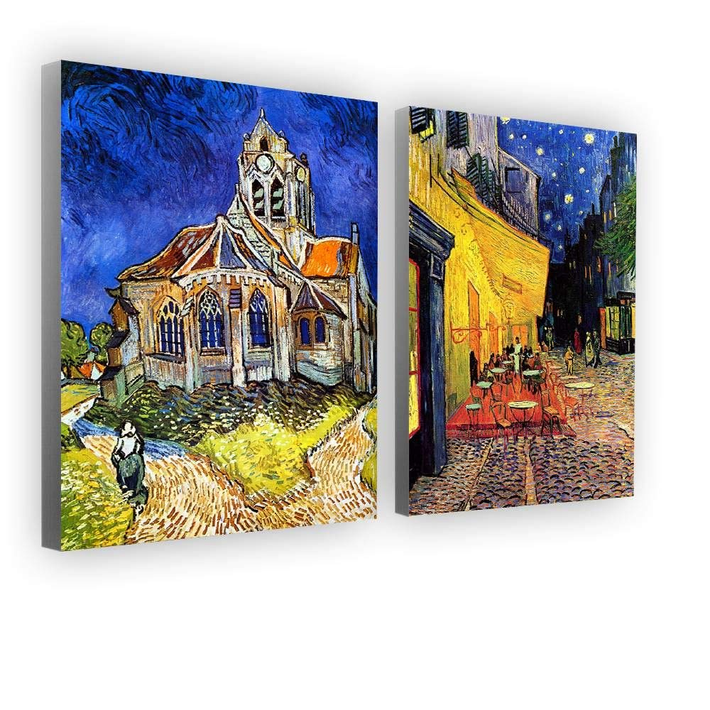 Alonline Art - Church Cafe Terasse by Vincent Van Gogh | framed stretched canvas on a ready to hang frame - 100% cotton - gallery wrapped | 16''x21'' - 41x54cm | Set of 2 Lot | Wall art home decor by Alonline Art