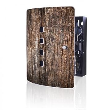 banjado Design Schlüsselkasten mit Edelstahl Tür und Motiv Trockenes Holz
