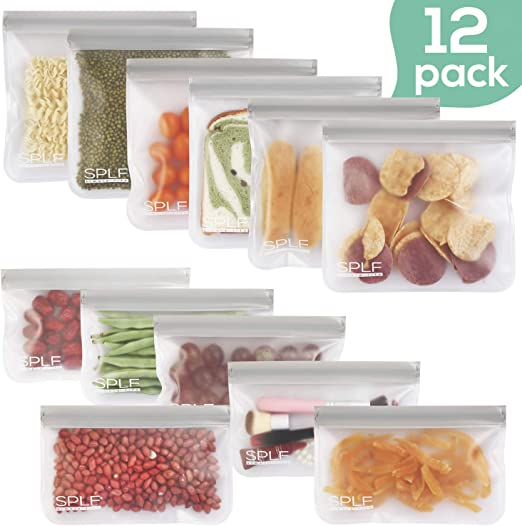 SPLF 12 Pack FDA Grade Reusable Storage Bags (6 Reusable Sandwich Bags, 6 Reusable Snack Bags), Extra Thick Leakproof Silicone and Plastic Free ...