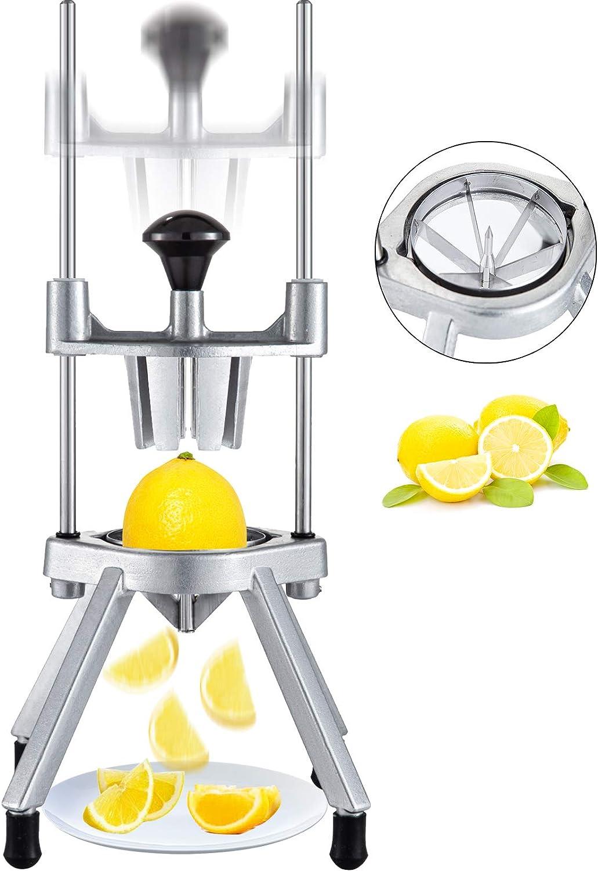 Happbuy 6-Section Commercial Easy Wedger Stainless Steel Blade Fruit Lime Slicer, Lemon Cutter for Home Bar Restaurant, Sliver