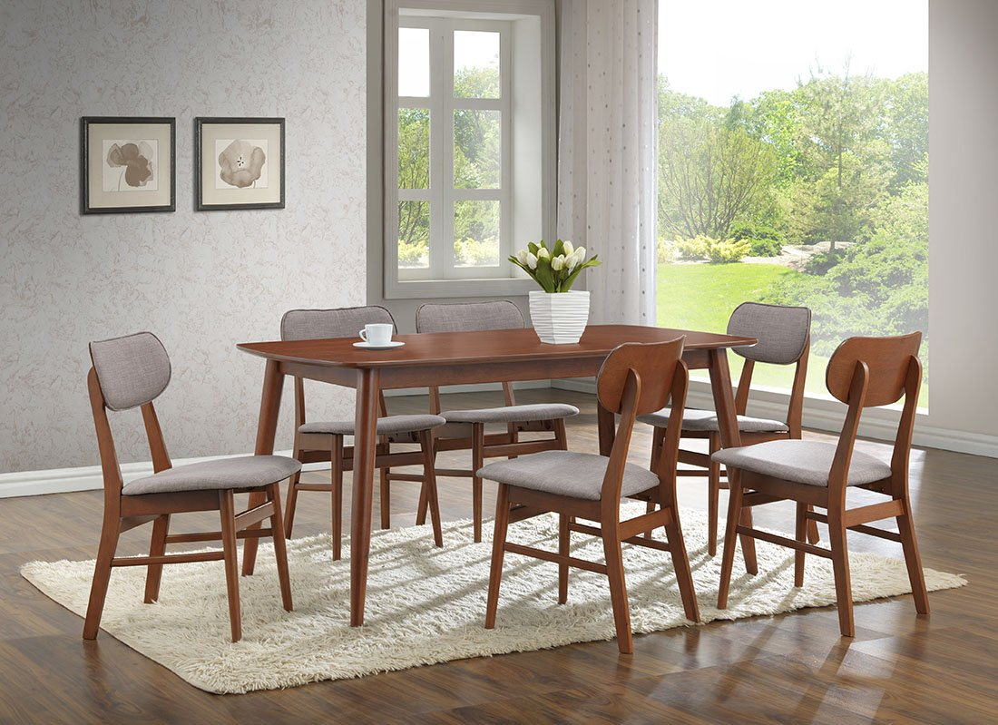 Amazon.com   Baxton Studio 7 Piece Sacramento Mid Century Dining Set, Dark  Walnut   Table U0026 Chair Sets