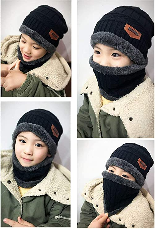 Tuopuda Hat Scarf Sets Winter Hat Kids Boys Winter Scarf Warm Knitted Beanie Hat with Fleece Lining Set of 2 Ski Warm Set Winter Hat Tube Scarf Set