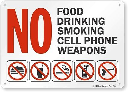 Amazon.com: Sin alimentos, sin bebidas, sin fumar, sin ...