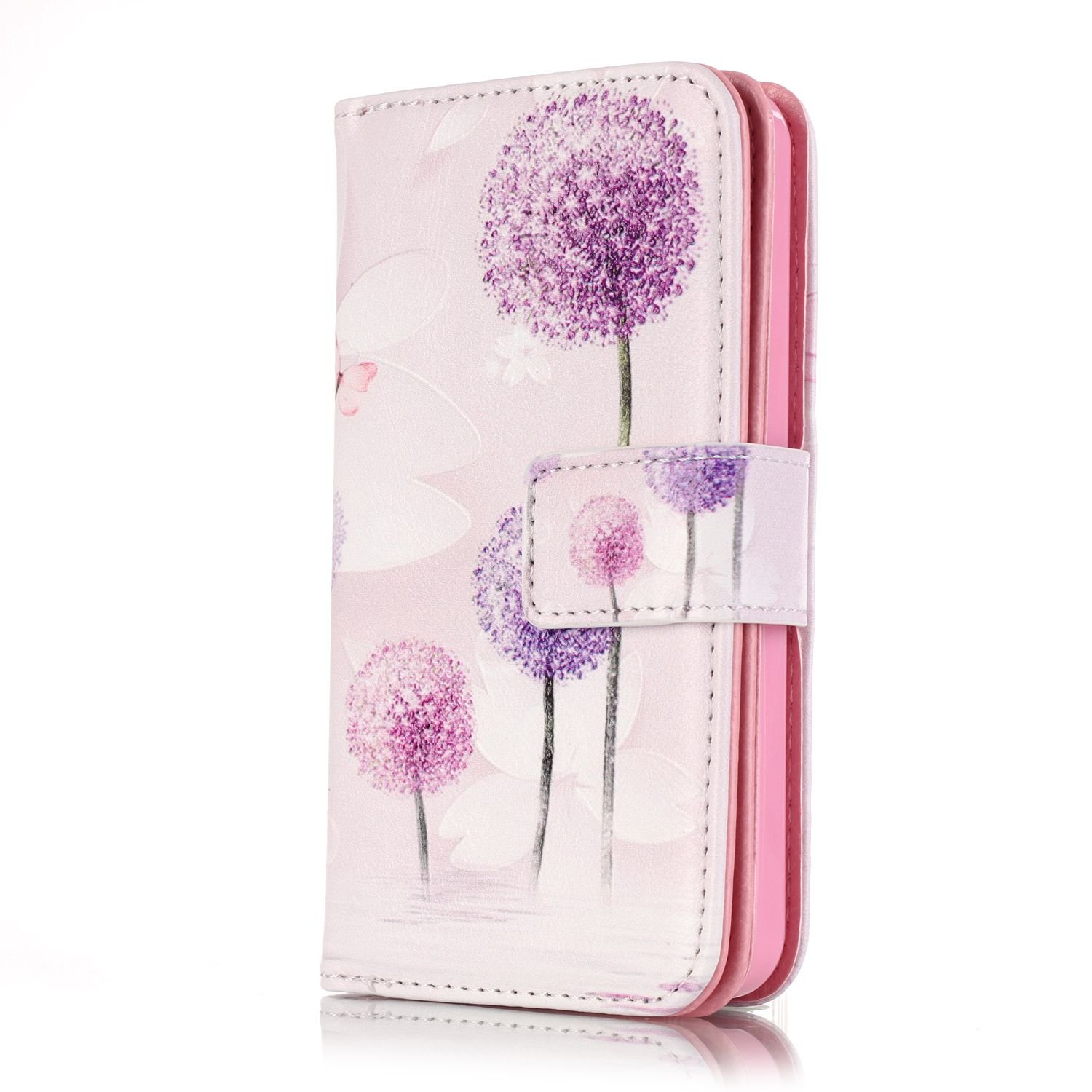 JuSha for Apply to Apple iPhone 5 / 5S / SE Edge Case PU Leather Wallet Magnetic Cover Skin(Dandelion mobile phone case)