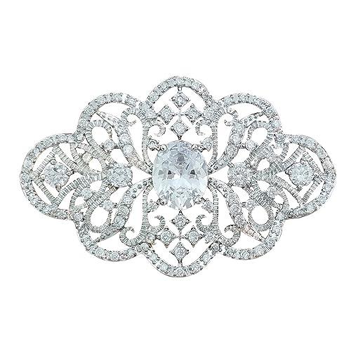 Broche de Plata para Boda con Cristales de Swarovski y circonita cúbica