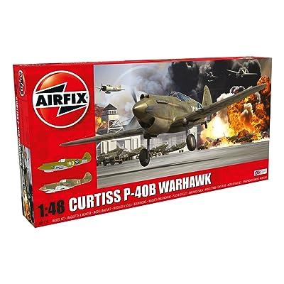 Airfix WWII Curtiss P-40B Warhawk 1:48 Military Aircraft Plastic Model Kit: Toys & Games