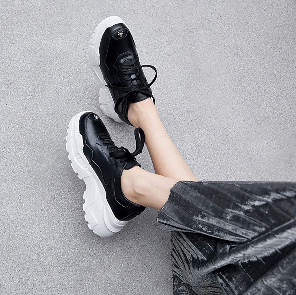 HRN Frauensportschuhe runder Lederkopf Dicker Boden Schuhe erhöhte Schuhe Boden Freizeitschuhe mit flachem Boden Winterstil schwarz 36EU 165444