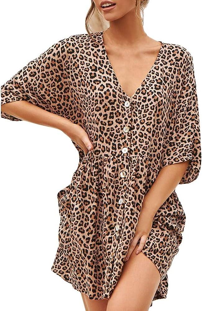 Vestidos Mujer Verano 2019 Nuevo SHOBDW Vestidos Casual Cuello en V Manga 3/4 Suelta Sexy Elegante Leopardo Vestidos de Fiesta Mujer Vestido de Camisa Talla Grande(Marrón,S): Amazon.es: Ropa y accesorios