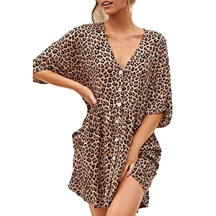 7033c2fa7130 Image Unavailable. Image not available for. Color: Women's Boho Button Up  Split Leopard Print Flowy Party ...